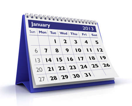 January desktop calendar  2013 in White  background