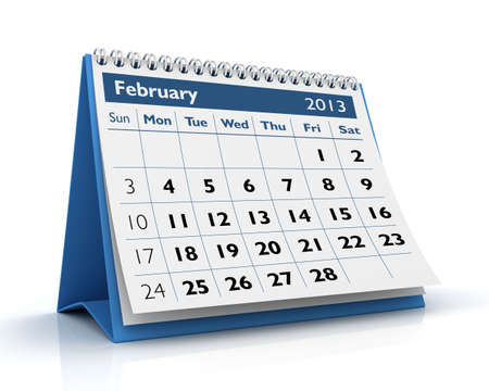 February desktop calendar 2013 in white background Stock Photo - 17380246