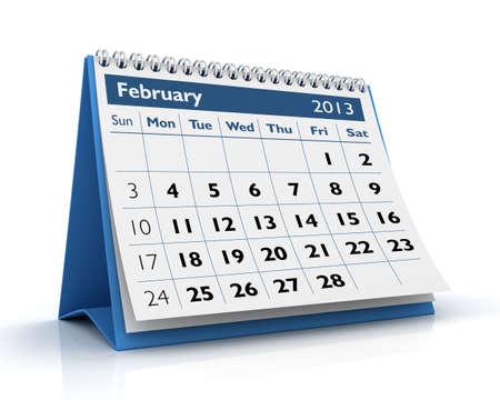February desktop calendar 2013 in white background Stock Photo - 17380246