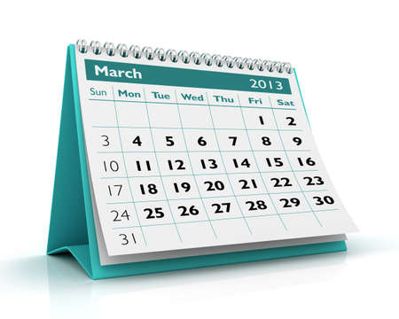 March desktop calendar 2013 in white background