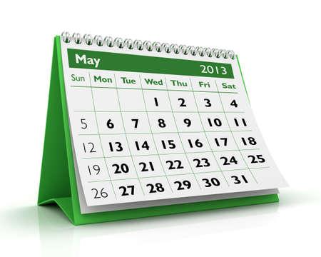 calendario escritorio: Mayo de escritorio calendario 2013 en fondo blanco Foto de archivo