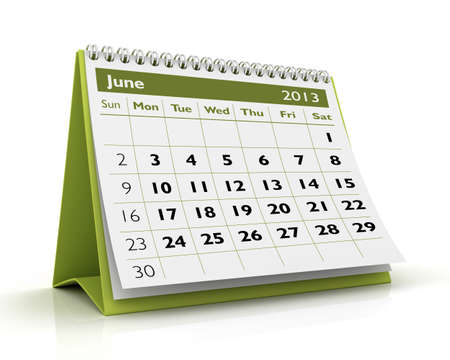 June desktop calendar 2013 in white background Stock Photo - 17380237