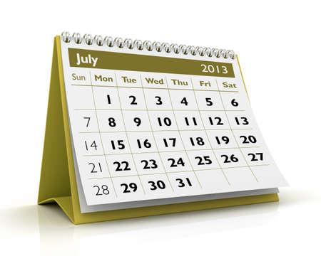 July desktop calendar 2013 in white background Stock Photo - 17380248