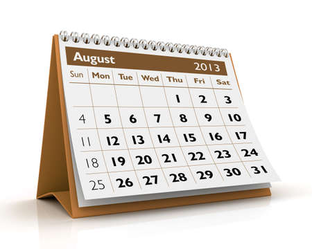 August desktop calendar 2013 in white background Stock Photo