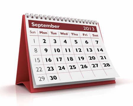 September desktop calendar 2013 in white background