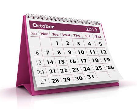 calendario escritorio: Octubre de escritorio calendario 2013 en fondo blanco Foto de archivo