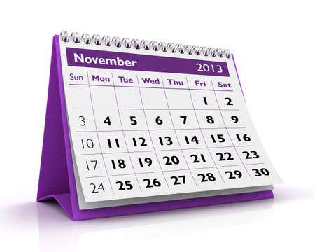 November desktop calendar 2013 in white background Stock Photo - 17380245