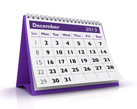 December desktop calendar 2013 in white background