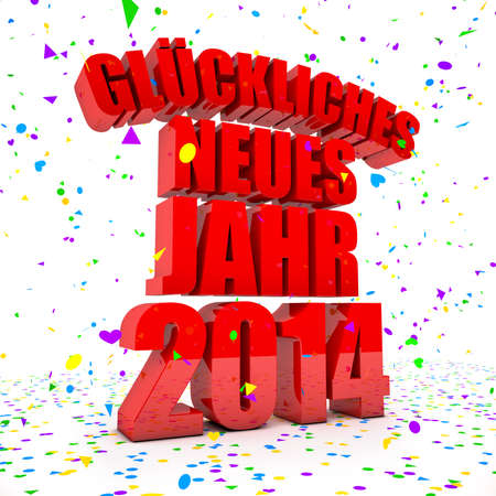 Happy New year 2014 in german languages Stock Photo - 22350364