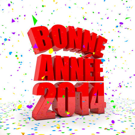 Happy New year 2014 in french languages photo
