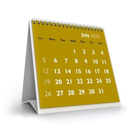 July 2015 Calendar Stock Photo