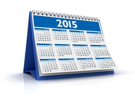 Desktop Calendar 2015 isolated in white background photo
