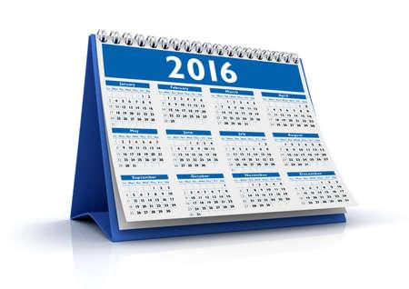 Desktop Calendar 2016 isolated in white background