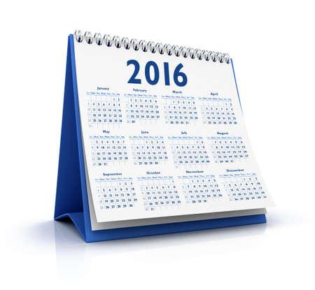 calendario: Desktop Calendar 2016 aislado en el fondo blanco Foto de archivo