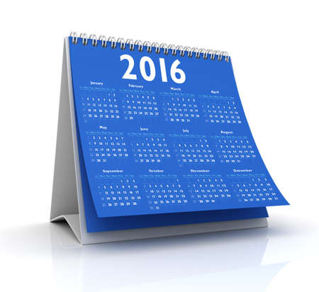 Blue Desktop Calendar 2016 isolated in white background Stock Photo