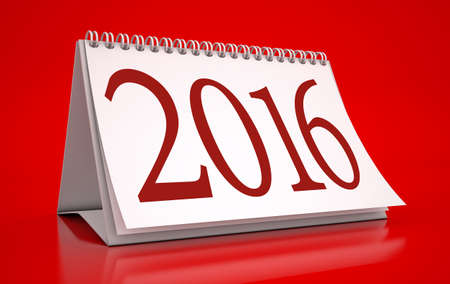 Calendar 2016 in red background