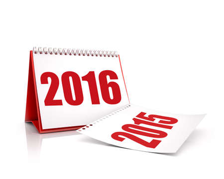 time of the year: Calendar 2016 and 2015 in white background Stock Photo
