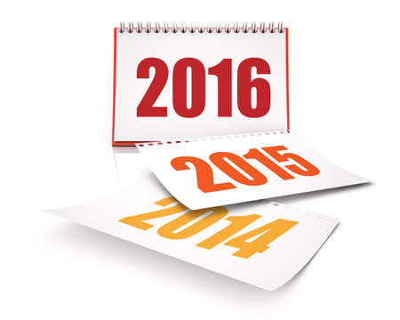Calendars 2016 and 2015 and 2014 in white background Stock Photo
