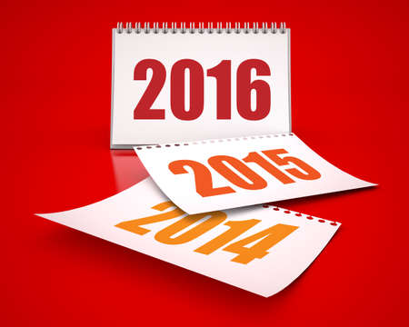 Calendars 2016 and 2015 and 2014 in red background Stock Photo