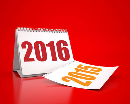 Calendar 2016 and 2015 in red background