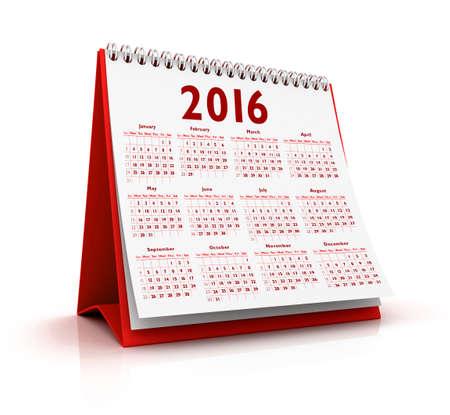 desktop calendar: Desktop Calendar 2016 isolated in white background