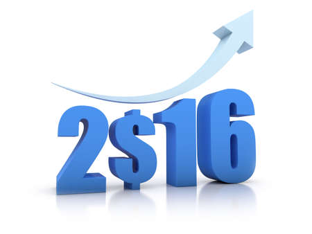 Growth 2016 and Dollar With Arrow in white background