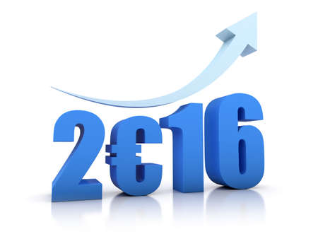 economic recovery: Growth 2016 and Euro With Arrow in white background