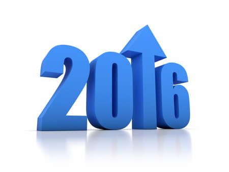 crecimiento: Crecimiento 2016 con la flecha en el fondo blanco Foto de archivo