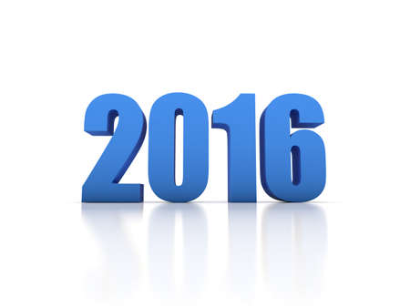 Render of the New Year 2016 in white background