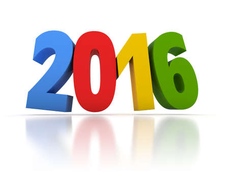 Render of the New Year 2016 with colors in white background