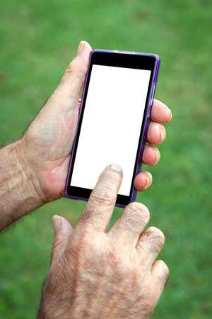 Hand senior man using Cell phon Stock Photo