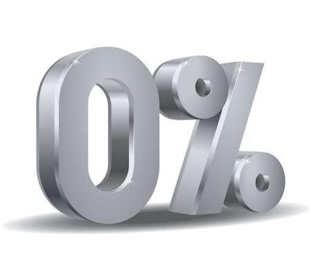 0 Prozent im weißen Hintergrund Vektorgrafik