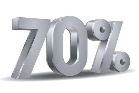 70 percent in white background Illustration