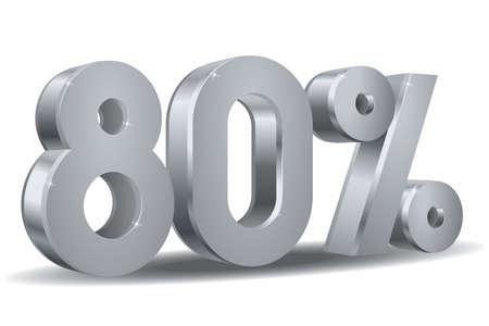 80 por ciento en el fondo blanco