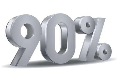 90 percent in white background Illustration