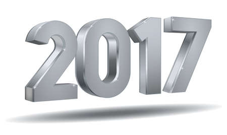 Happy new year 2017 in silver plated