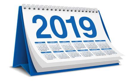 Calendar Desktop 2019 in blue color Stock Illustratie