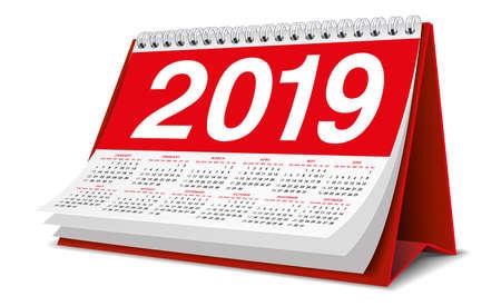 Calendrier de bureau 2019 en couleur rouge