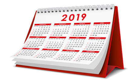 Desktop Calendar 2019 in red color