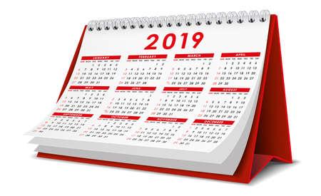 Kalendarz biurkowy 2019 w kolorze czerwonym Ilustracje wektorowe
