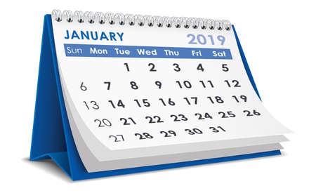 January 2019 calendar Illusztráció