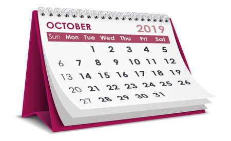 October 2019 calendar Illustration