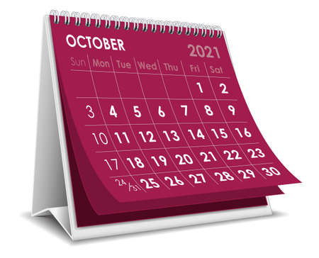 Vector Desktop 3D calendar October 2021 isolated in white background