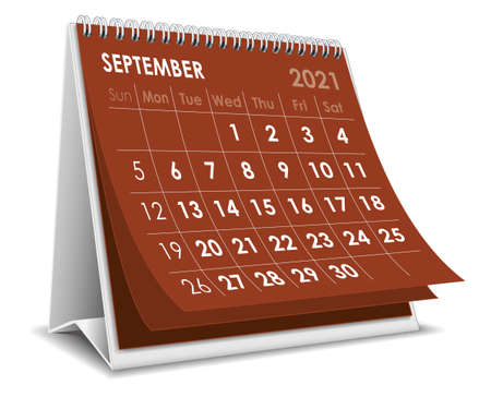 Vector Desktop 3D calendar September 2021 isolated in white background