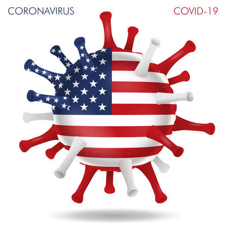 Vector illustration of USA flag virus shape isolated in white background Иллюстрация