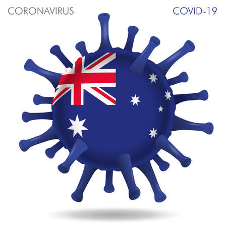 Vector illustration of Australia flag virus shape isolated in white background