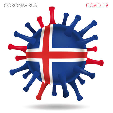 Vector illustration of Iceland flag virus shape isolated in white background