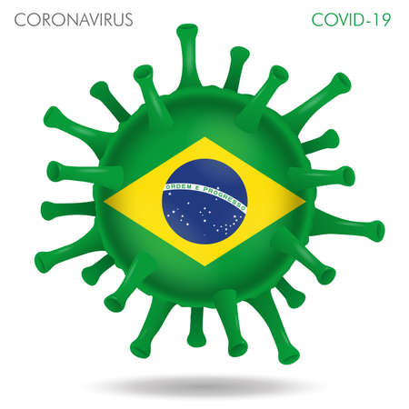 Vector illustration of Brazil flag virus shape isolated in white background