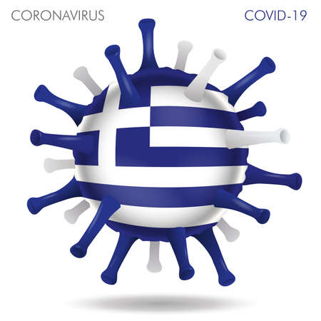 Vector illustration of Greece flag virus shape isolated in white background