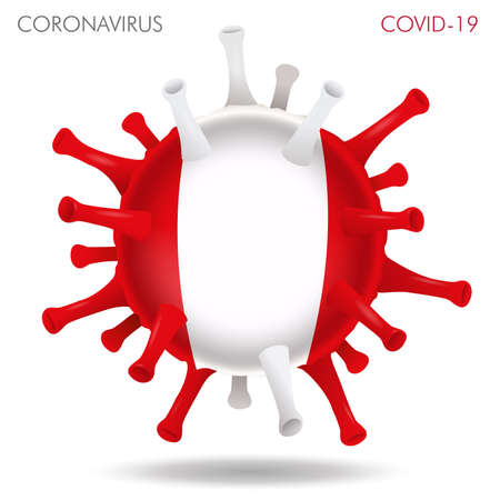 Vector illustration of Peru flag virus shape isolated in white background